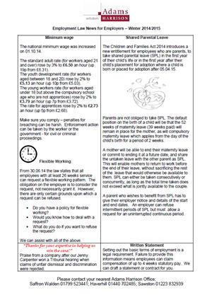 Adams Harrison Employment Law News For Employers Dec 2014
