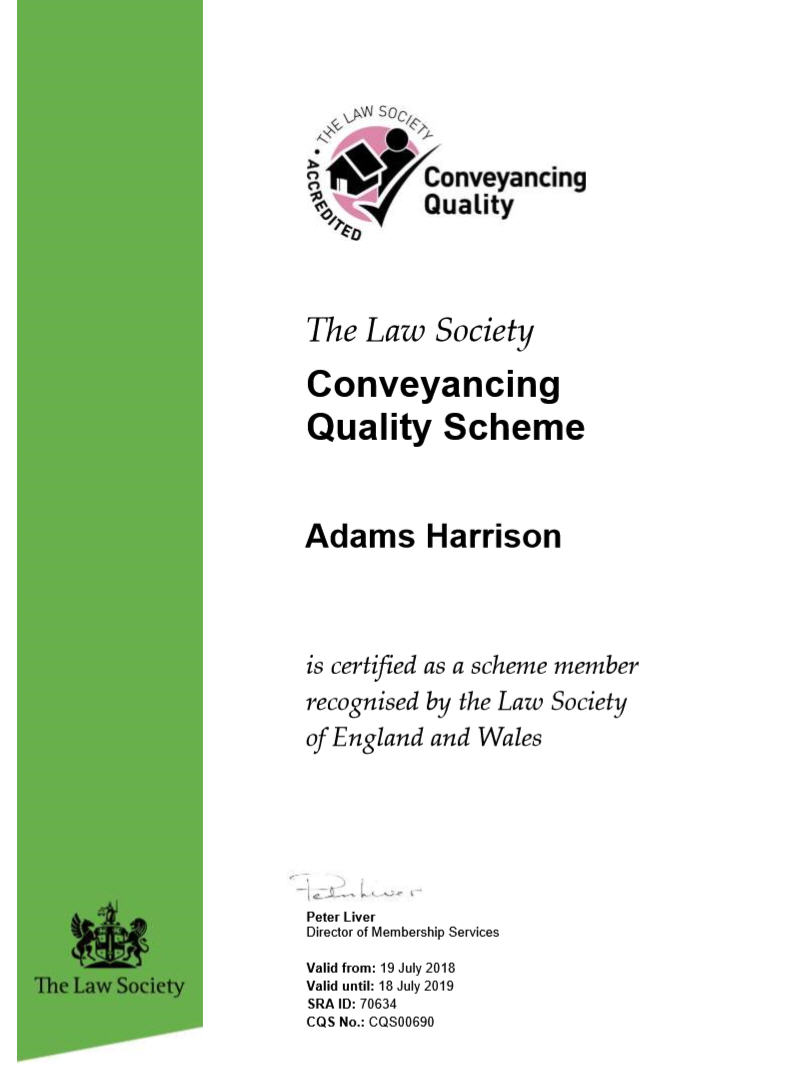 Adams Harrison CQC Certificate July 2018