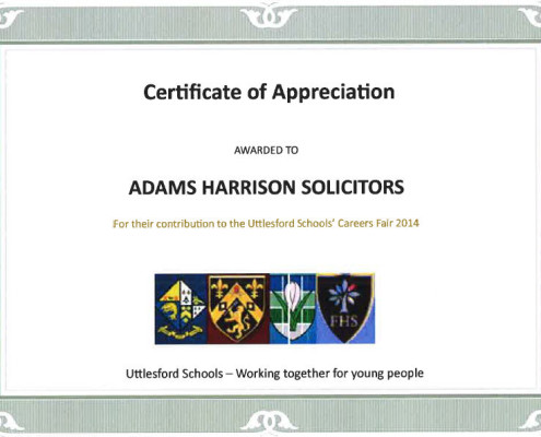 Certificate of Appreciation for Adams Harrison from Uttlesford Schools