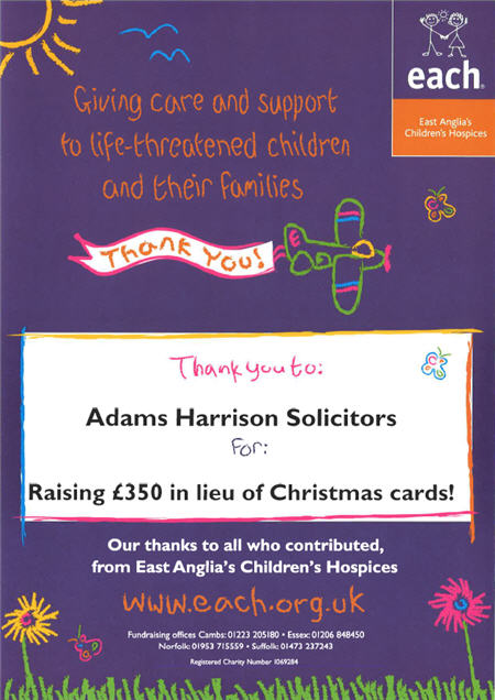 EACH Thanks Adams Harrison Foe Christmas 2014 Fund Raising