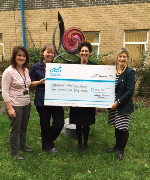 Shoshana Goldhill Presents Cheque To Addenbrookes Charitable Trust