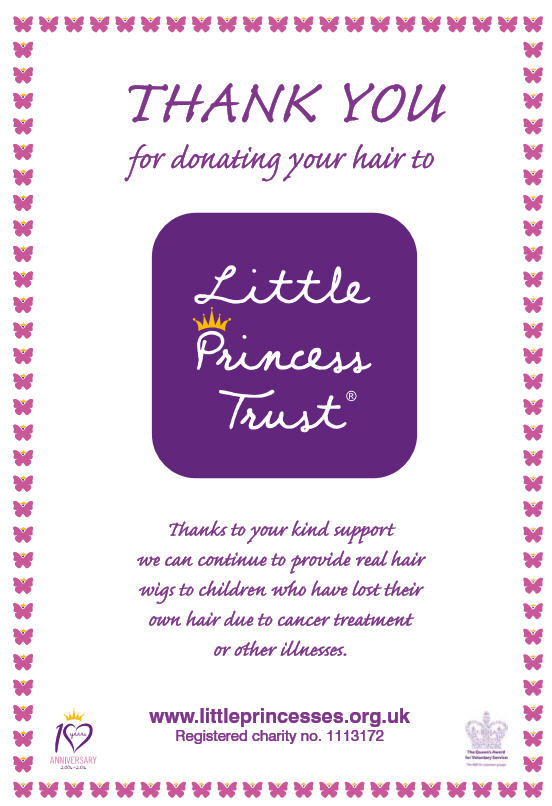 Little Princess Trust Hair Donation Certificate