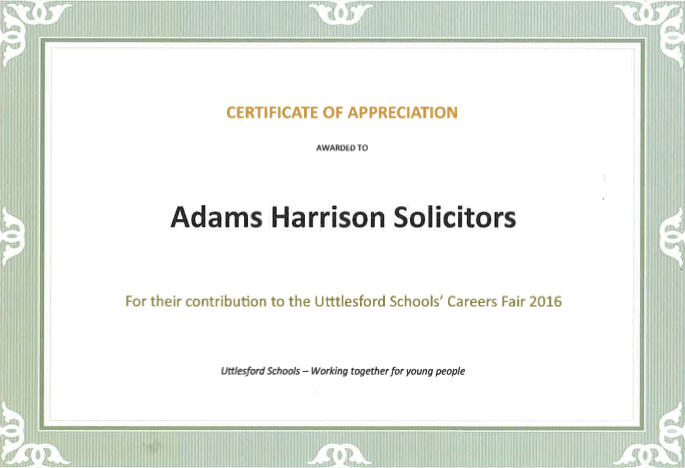 Certificate Of Appreciation Uttesford Schools Fair 2016