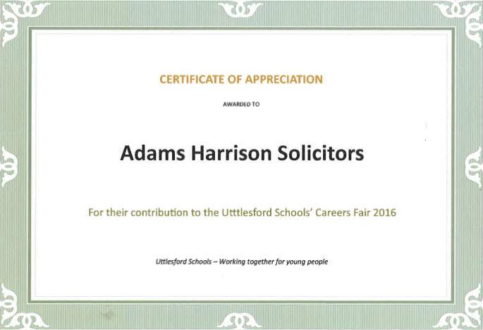 Certificate Of Appreciation Uttesford Schools Fair 2016