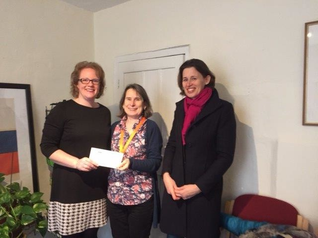 Jenny Carpenter presenting the cheque to Debbie Flicos and Camilla Lethbridge of Home Start Saffron Walden