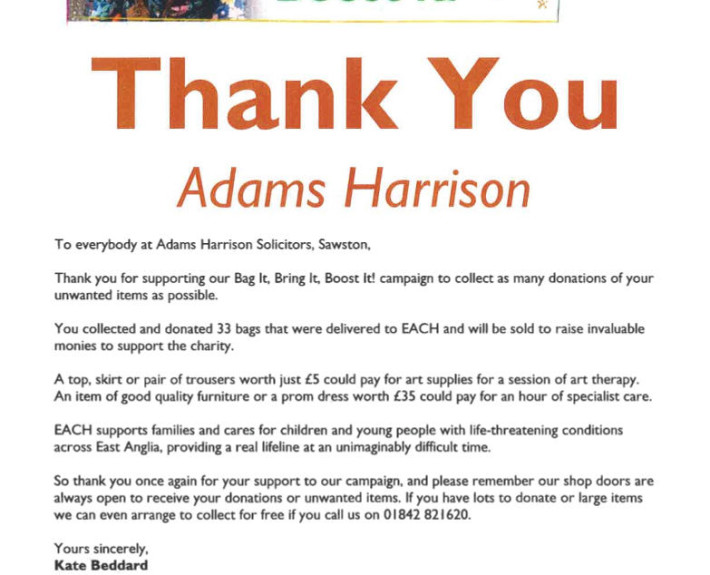 Thankyou from EACH To Adams Harrison May 2017