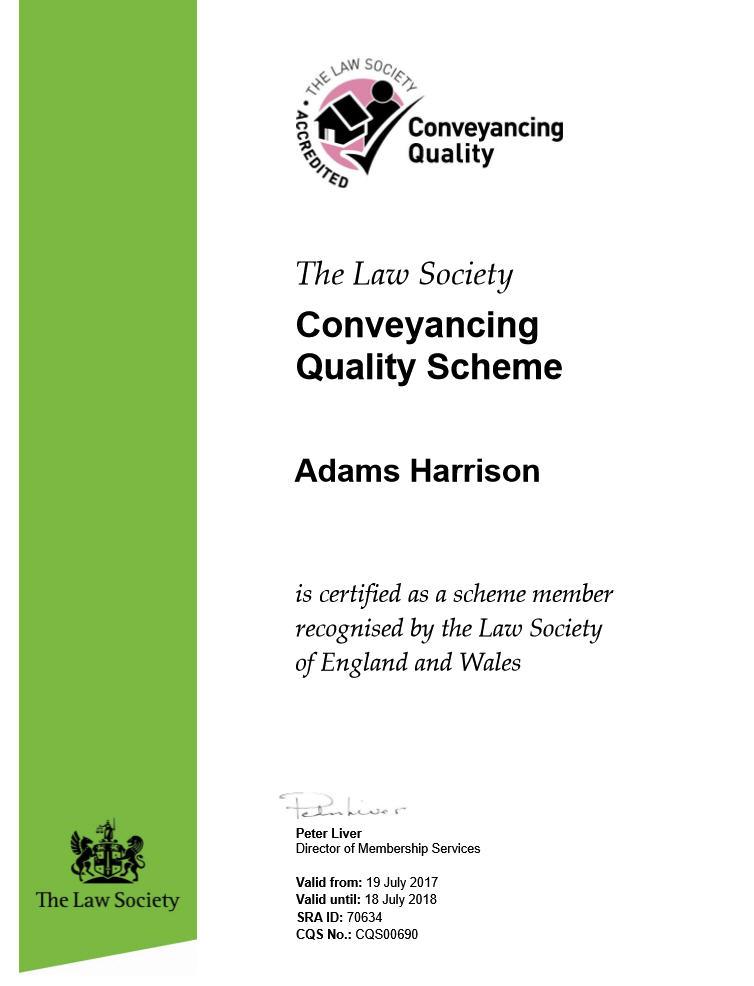 Adams Harrison Conveyancing Quality Certificate 2017-8