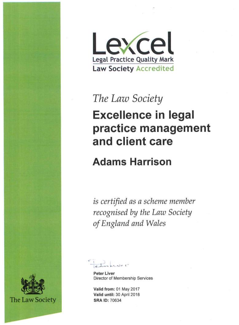 Adams Harrison Lexcel Certificate 2017-8