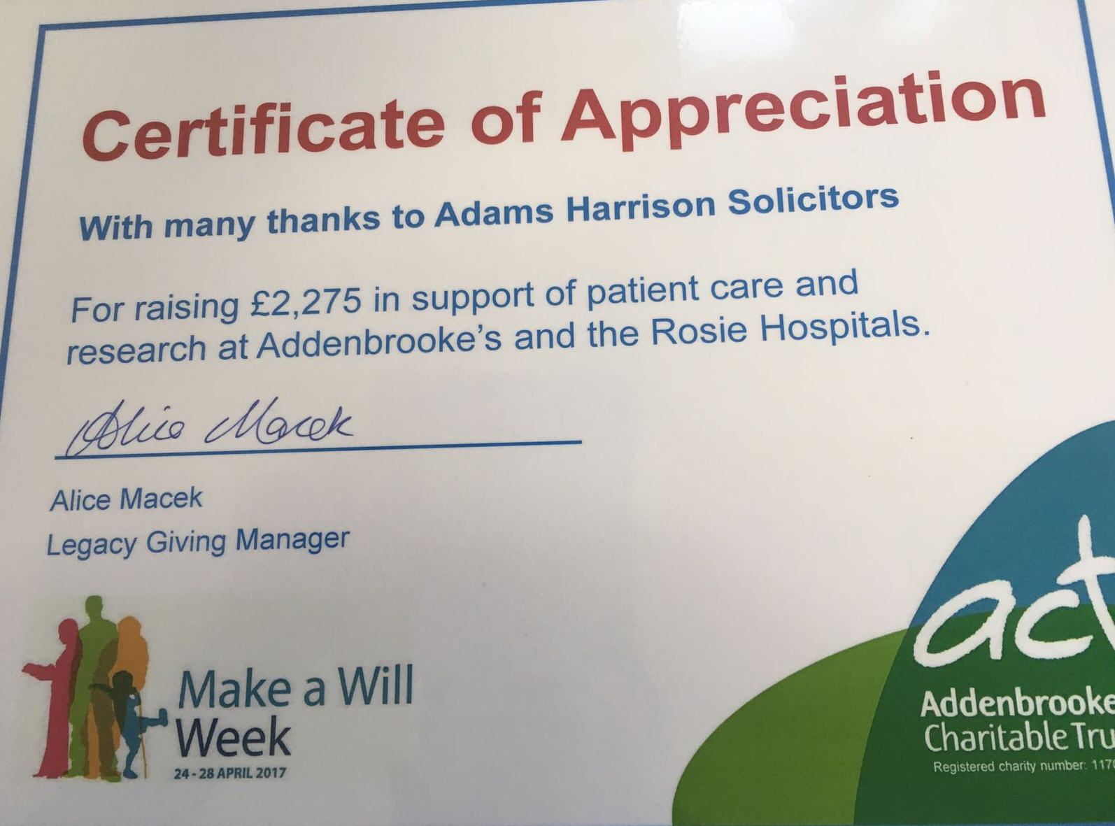 Certificate Of Appreciation For Adams Harrison from Addenbrookes