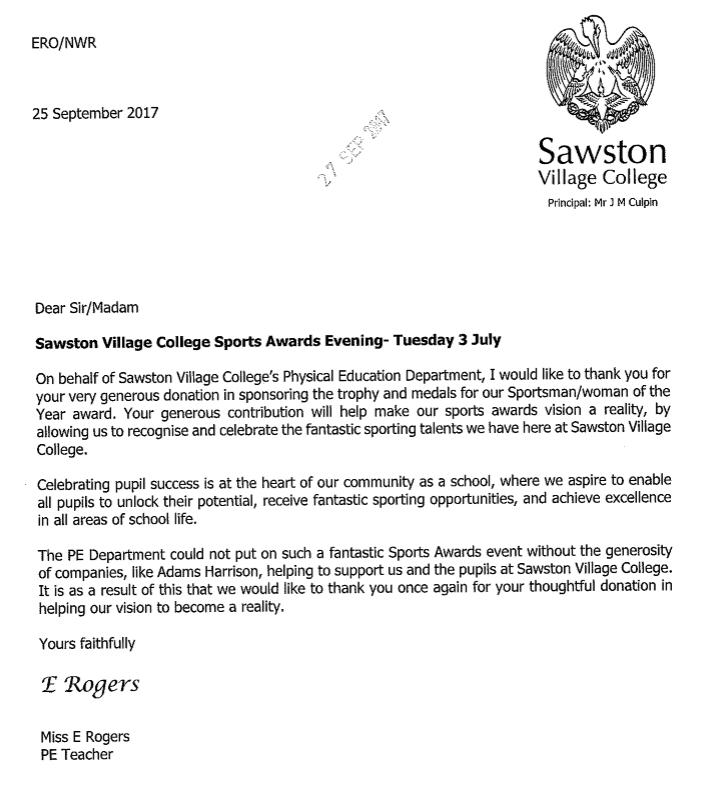Sawston Village College Thank You Note 25 9 17