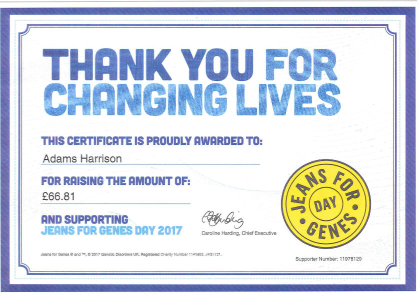 Adams Harrison Jeans For Genes 2017 Certificate