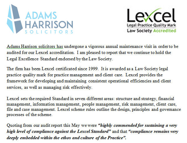 Adams Harrison Lexcel Report 2018 Image