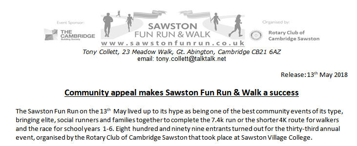 Sawston Fun Run Report Image