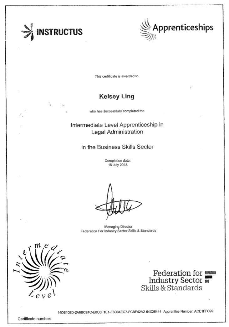 Adams Harrison Kelsey Ling Apprenticeship Certificate