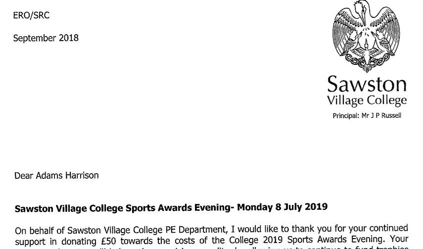 Sawston Village College Thankyou Letter For Adams Harrison