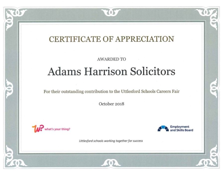 Adams Harrison Certificate of Appreciation from Utlesford School 1