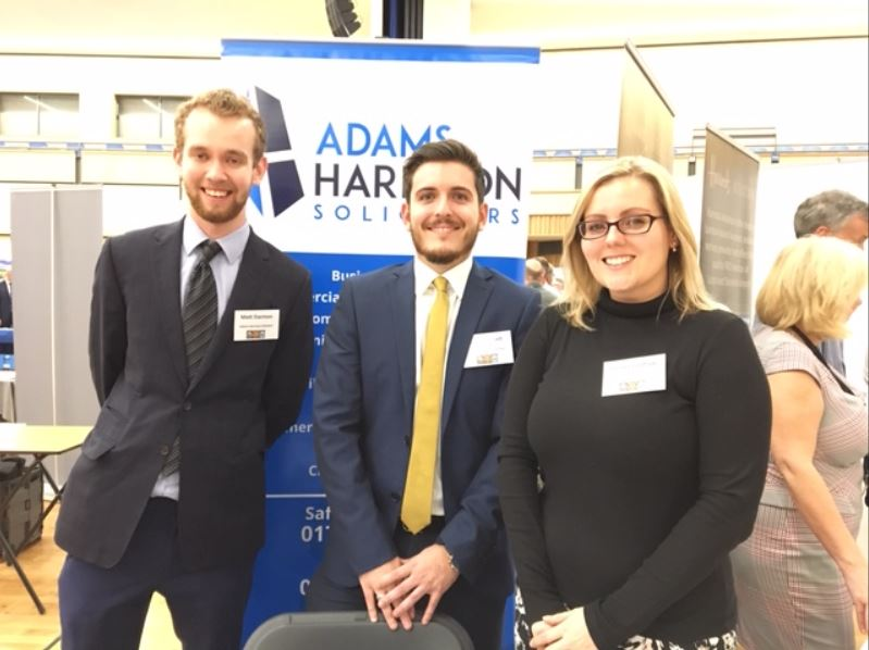 Matt Darmon, Jack Stewart and Emma Laidlaw of Adams Harrison at Uttlesford District Careers Fair