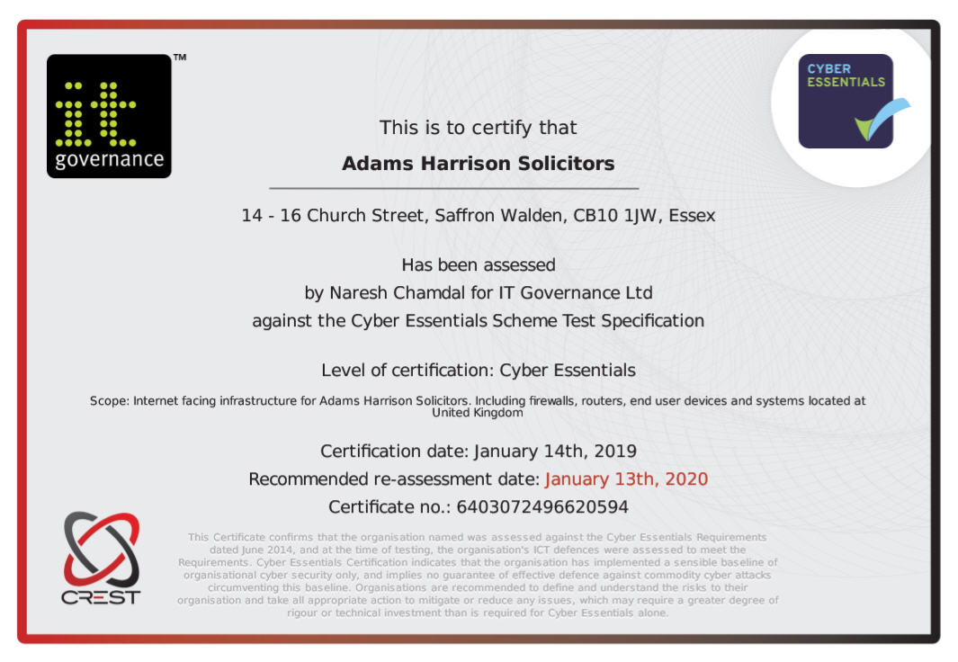 Adams Harrison Cyber Essentials Certificate