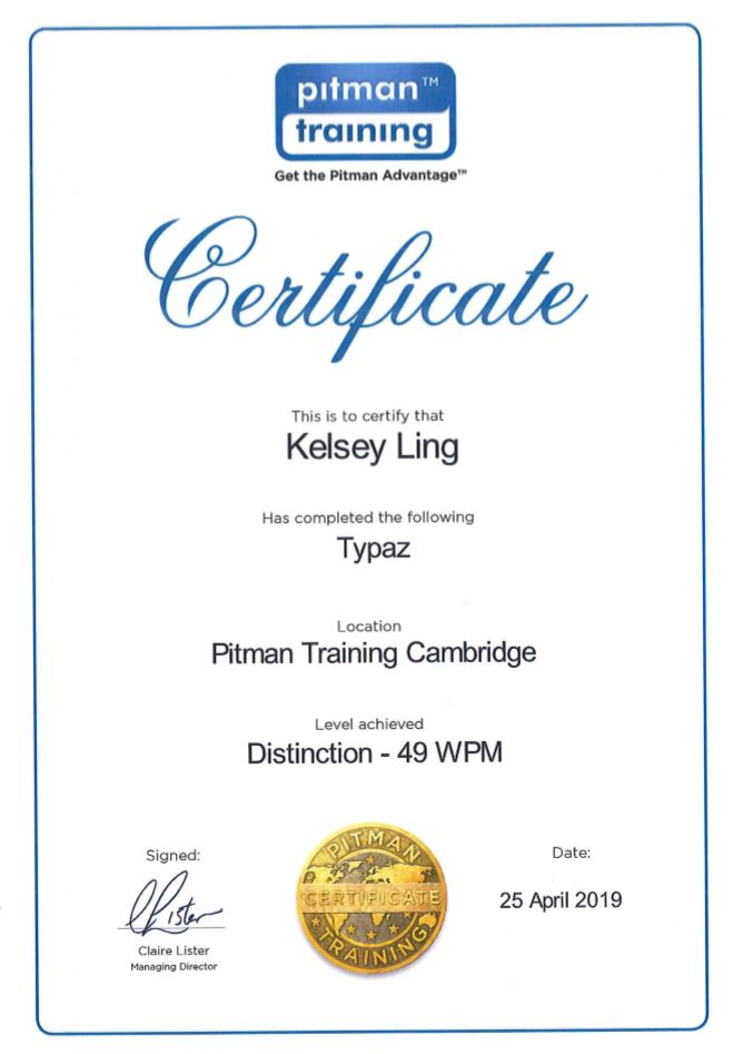 Pitman Certificate for Kelsey Ling of Adams Harrison