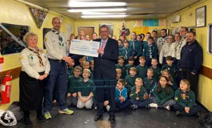 Haverhill Triathlon Cheque Presentation to Haverhill Scouts