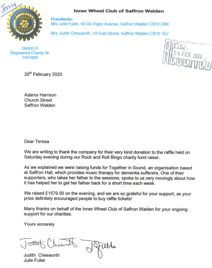 Inner Wheel Saffron Walden Thankyou Letter 20 Feb 2020
