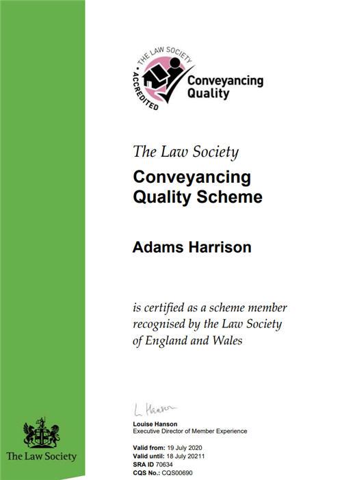 Adams Harrison CQS Certificate 2020-1