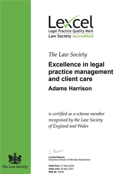 Adams Harrison Lexel Certificate 2020-1